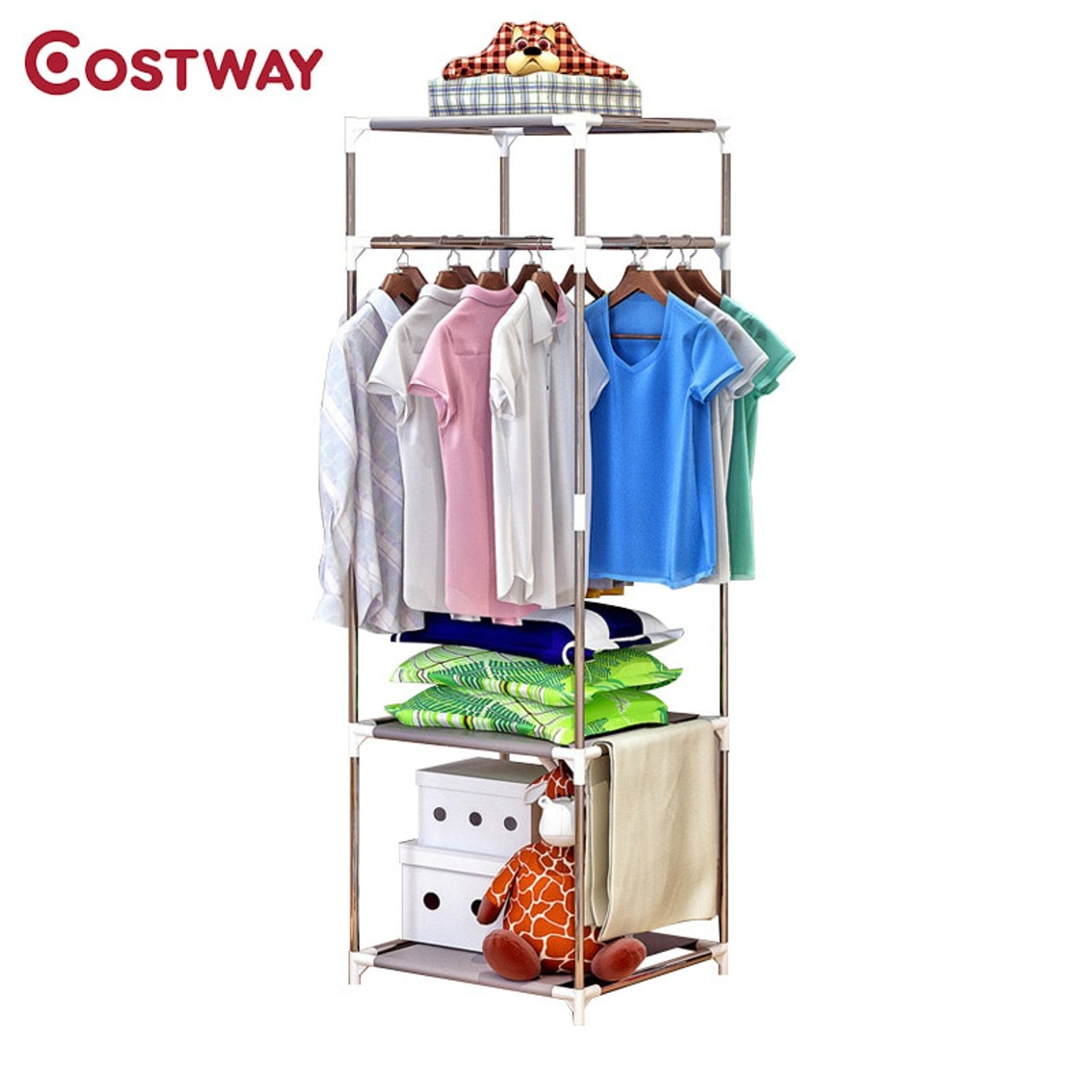 Coat Rack Double Floor Collapsible Clothes Drying Rack White