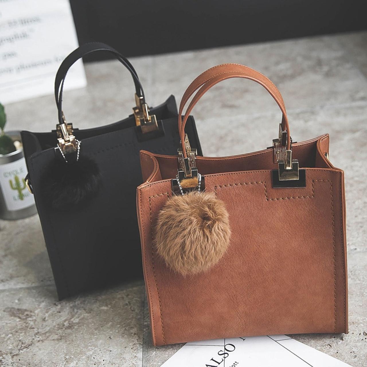 NEW HOT SALE handbag women casual tote bag female large shoulder messenger bags  high quality Suede Leather handbag with fur ball - OnshopDeals.Com 8cbd6ed12e9e2