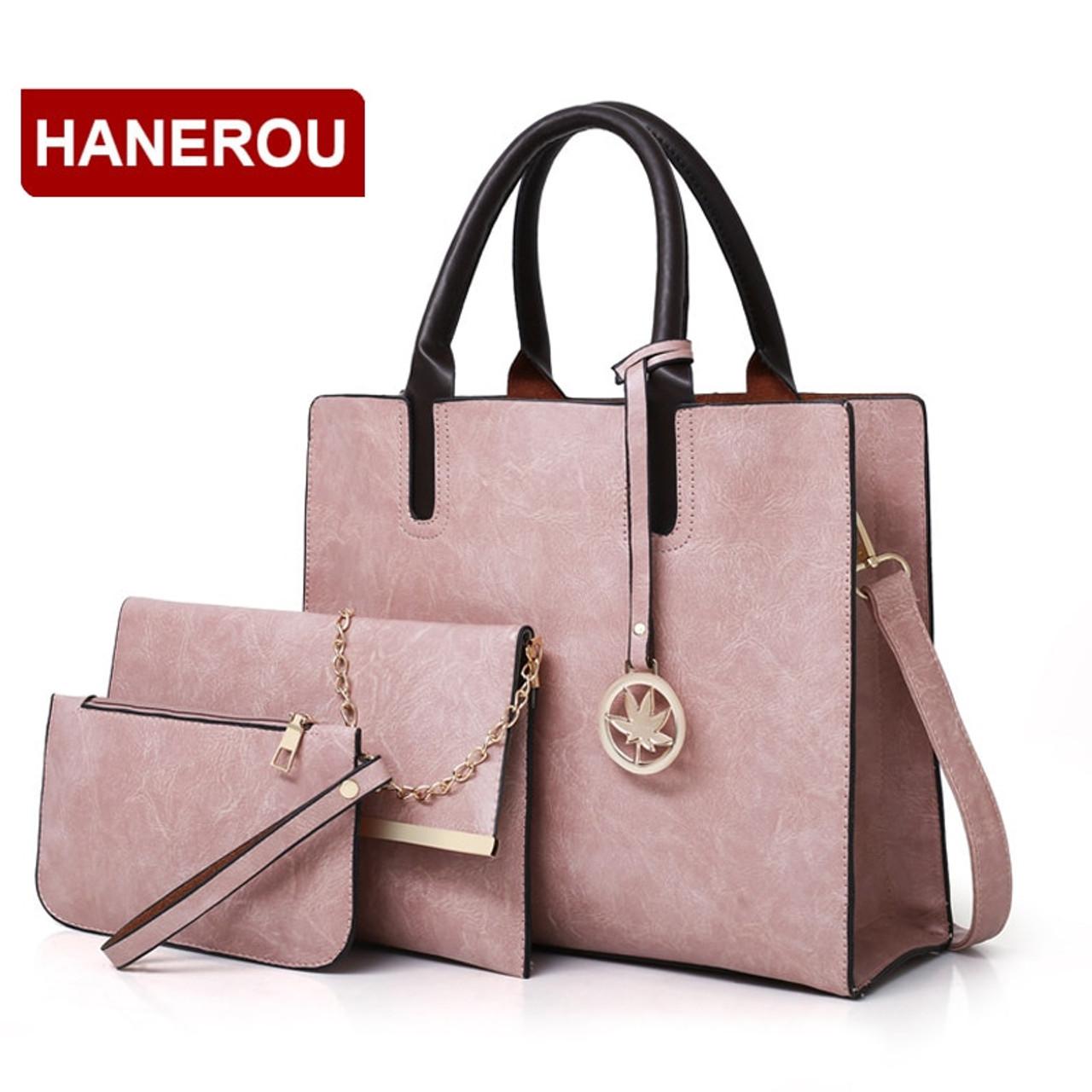 021a22a84bcc 2018 New Women Bags Set 3 Pcs Leather Handbag Women Large Tote Bags Ladies  Shoulder Bag Handbag+Messenger Bag+Purse Sac a Main