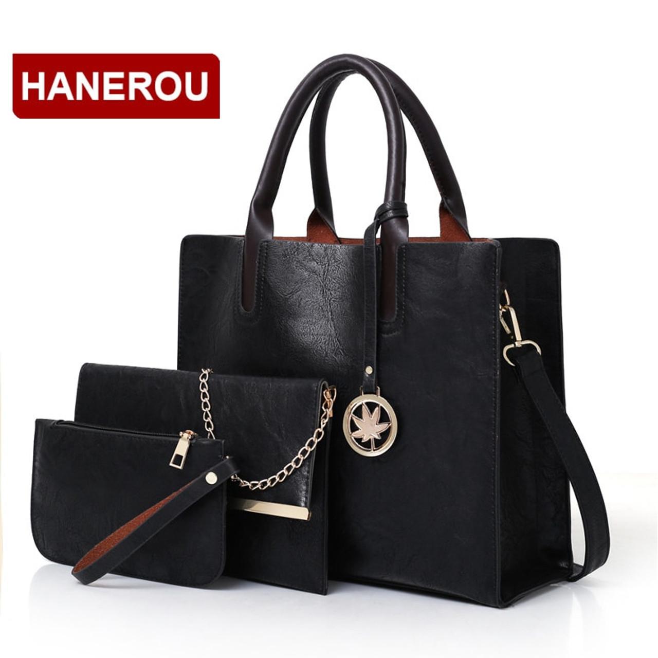 84863476f360 ... 2018 New Women Bags Set 3 Pcs Leather Handbag Women Large Tote Bags  Ladies Shoulder Bag ...