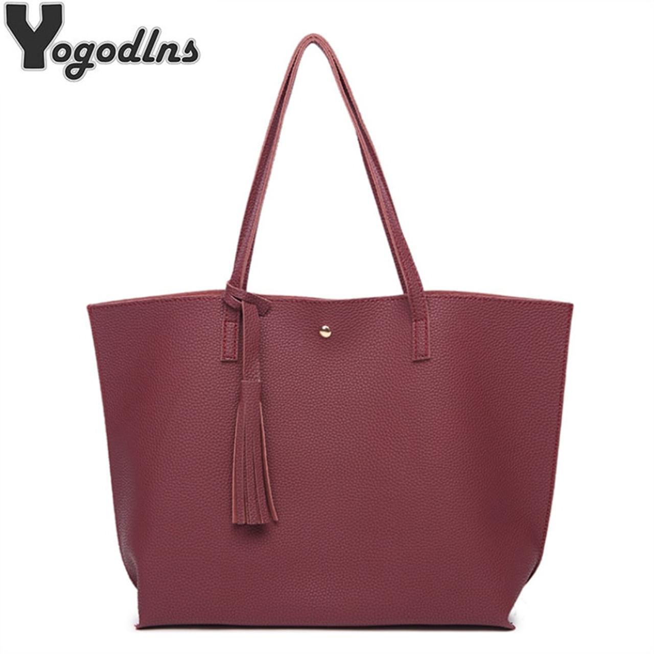 Women Messenger Bags Leather Casual Tassel Handbags Female Designer Bag  Vintage Big Size Tote Shoulder Bag ... b4044230a2381
