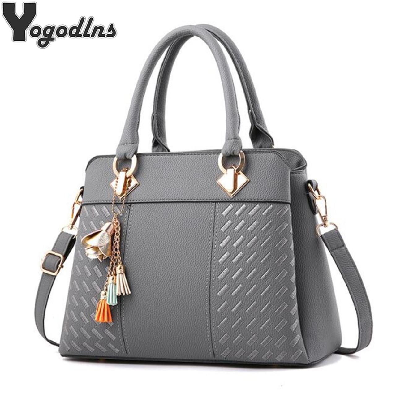 8207cbcdfb8b Fashion Women Handbags Tassel PU Leather Totes Bag Top-handle Embroidery  Crossbody Bag Shoulder Bag Lady Simple Style Hand Bags