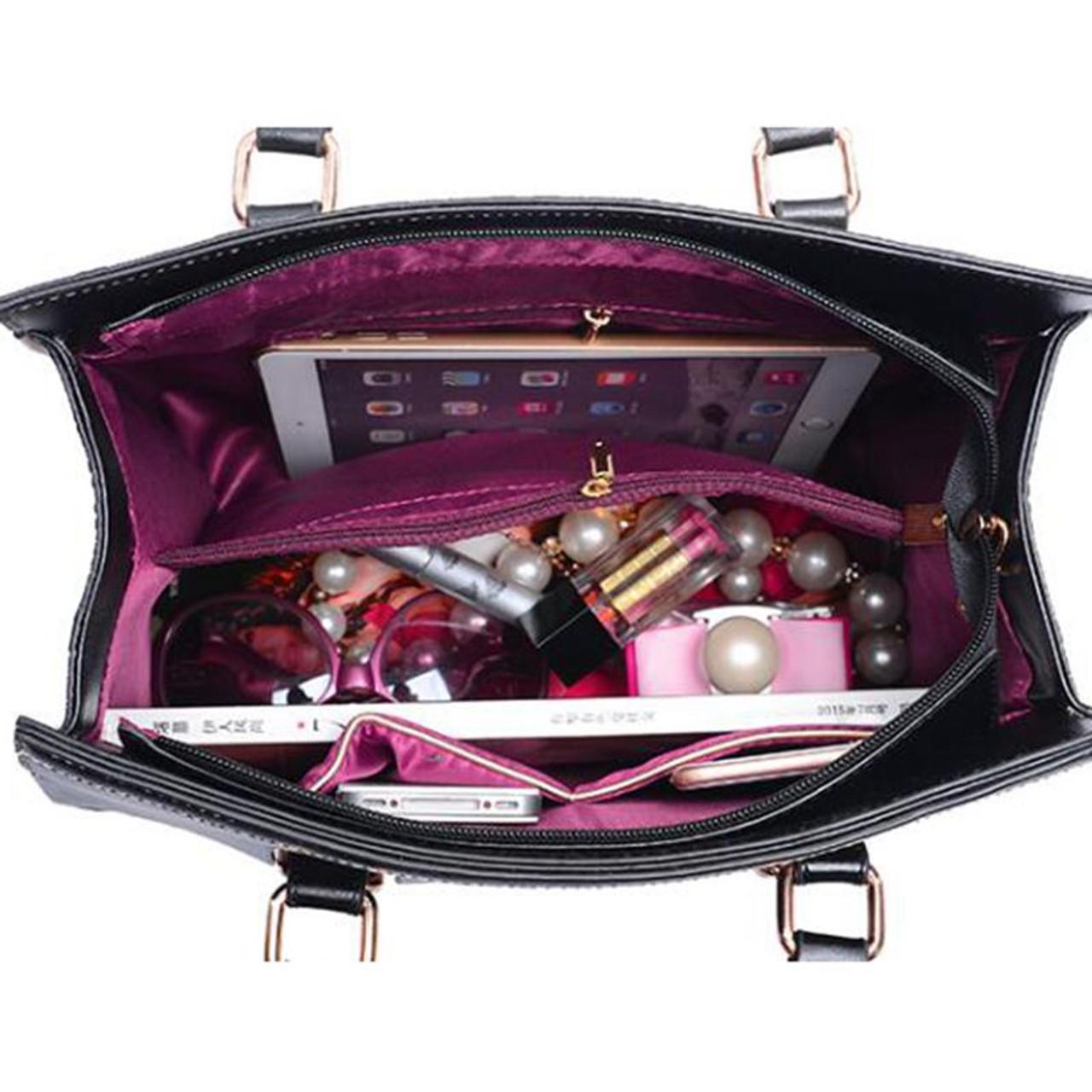 5aa5528f7a4d1 ... 5Piece Set 2018 New Women Bags Leather Handbags Fashion Shoulder Bag  Female Purse Ladies Crossbody ...