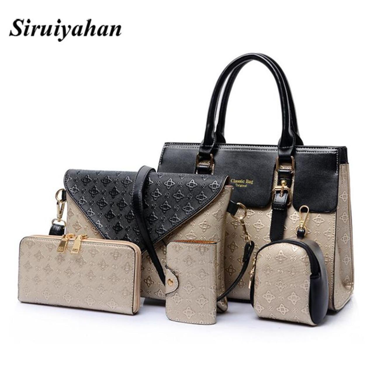 21cc7a55252 ... 5Piece/Set 2018 New Women Bags Leather Handbags Fashion Shoulder Bag  Female Purse Ladies Crossbody ...