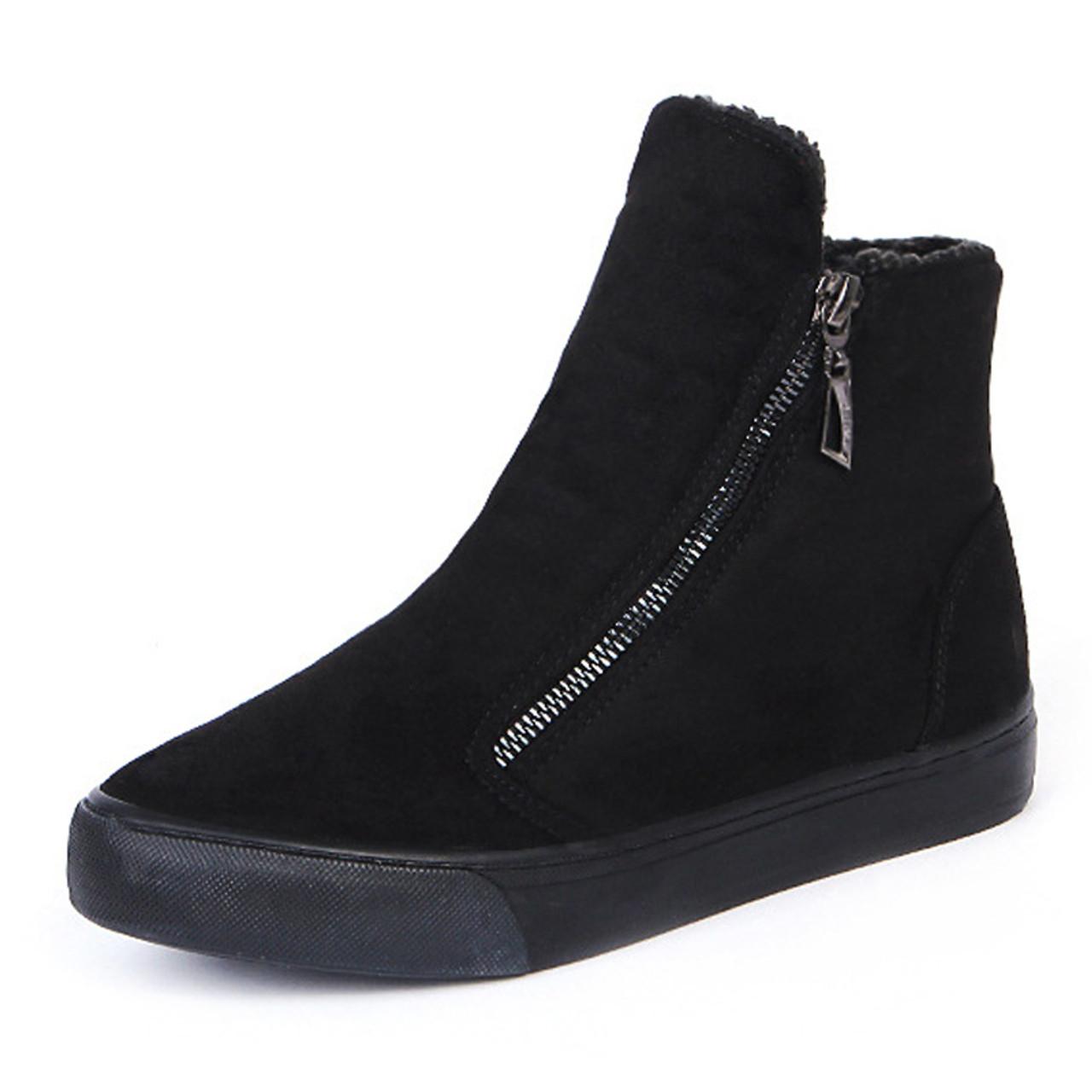 abafa0f5706 ... KHTAA Women s Winter Ankle Boots Female Zipper Flock Platform Snow Boot  Ladies Plush Sneakers Casual Flat ...