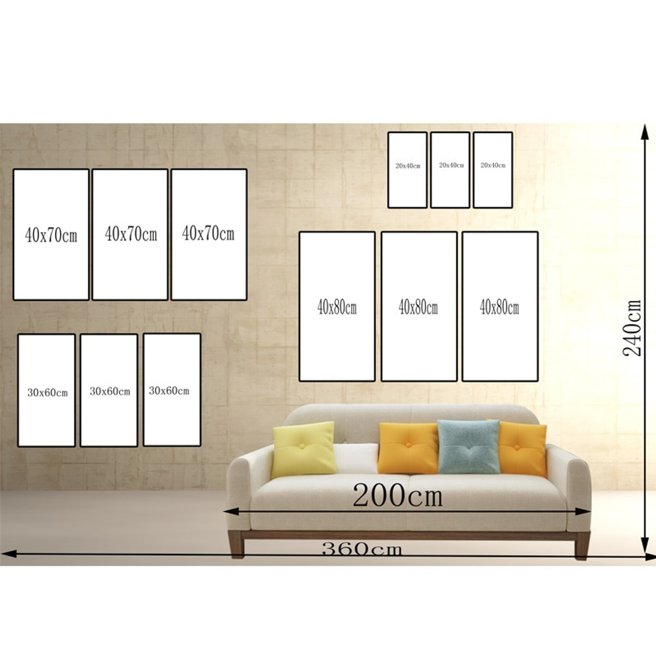 3 Panel Canvas World Map Painting Poster Print Wall Art Living Room Picture Art