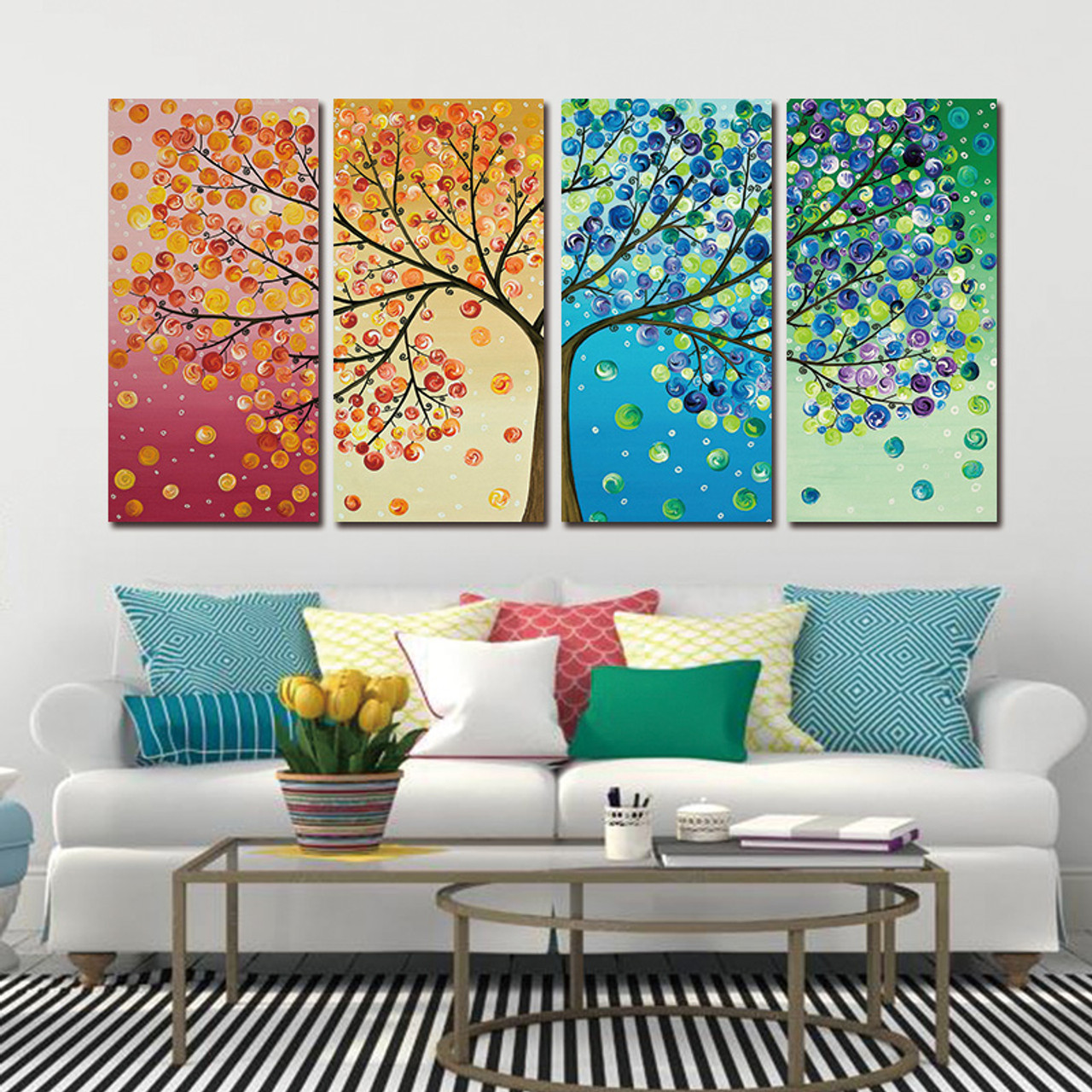Picture Canvas Wall Art Canvas Painting tree decoration for Living Room picture  Colourful Leaf Trees Wall Art Spray Wall Painting - OnshopDeals.Com