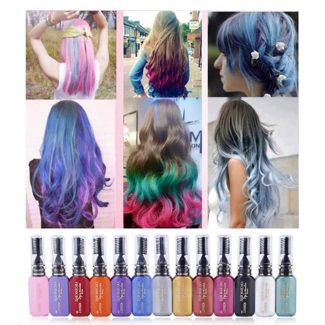 Fashion 13 Colors One-time Beauty Hair Dye Temporary Non-toxic DIY Hair  Color Mascara Cream Washable Hair Dye Crayons