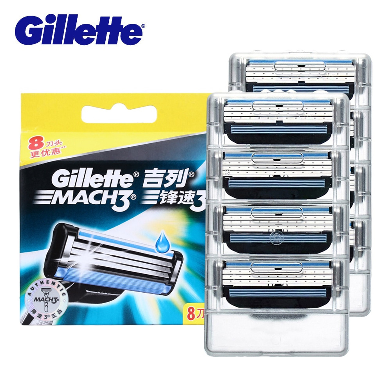 Gillette Mach 3 Layers Men Face Shaving Manual Replacement Razors Blades Set