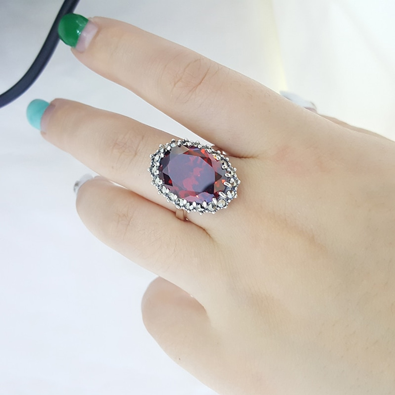 Women  silver ring with pearl and garnet stones Free shipping!