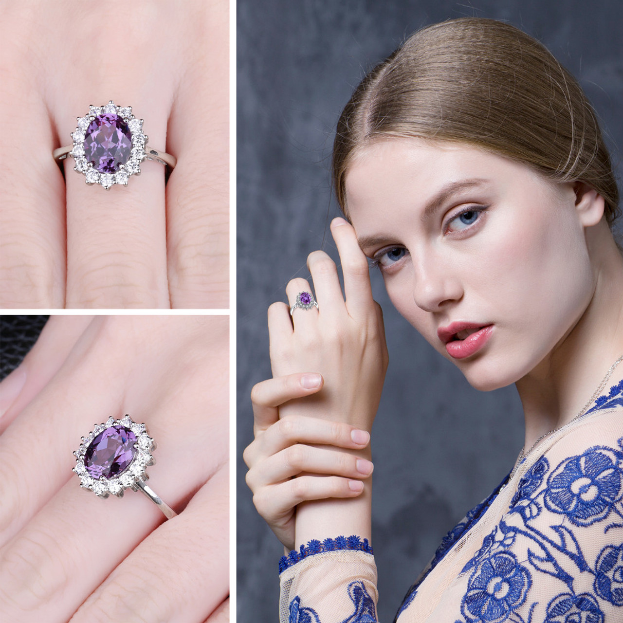 Princess Diana Wedding Ring.Jewelrypalace Princess Diana 3 22 Ct Created Alexandrite Sapphire Wedding Rings For Women 925 Sterling Silver Brand Fine Jewelry