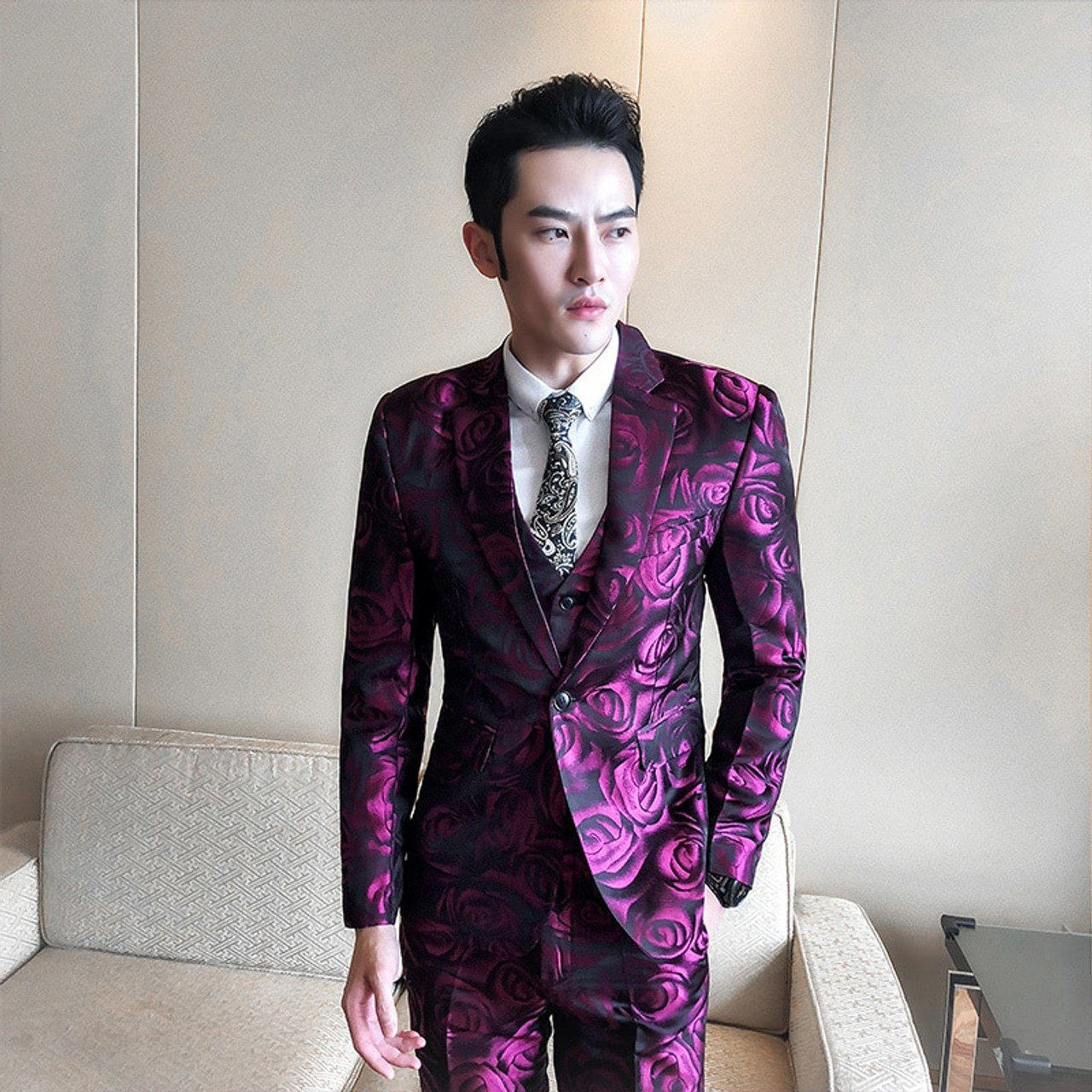 uk availability f1d81 8d137 (Jacket +vest+pant ) Rose Pink Smoking Uomo Grooms Suit Men Business  Tuxedos Slim Fit Club Party Prom Suit Abito Uomo Cerimonia