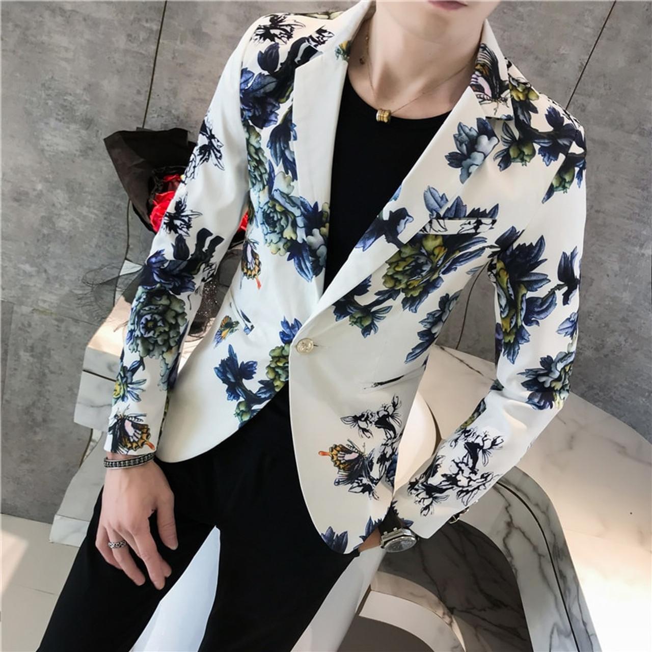 1d471bfe2519 ... Mens Floral Blazer Male Terno Masculino Slim Fit 2018 Autumn Stylish  Blazers For Men Blazers Para ...