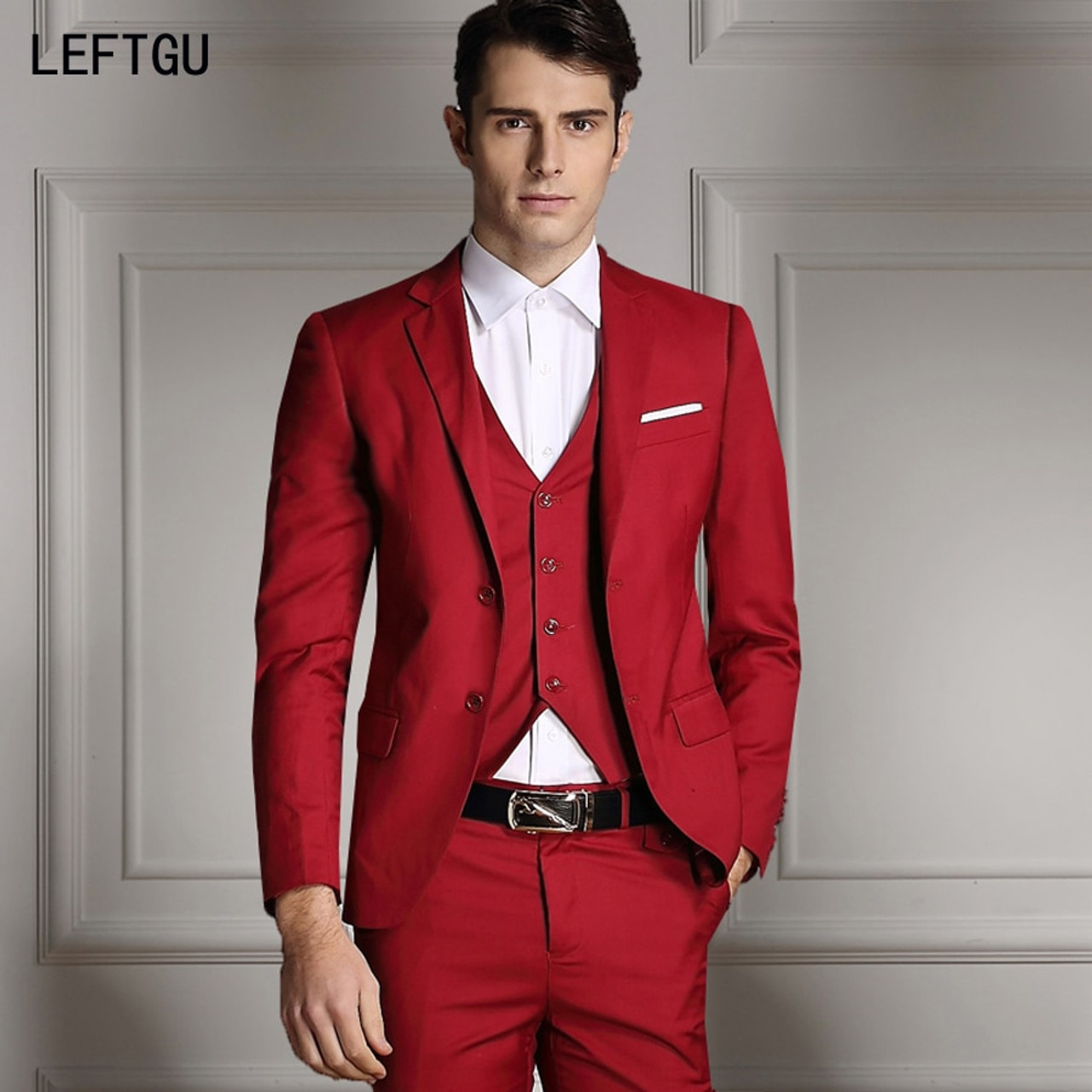 cb04ab5d7be (Jackets+Vest+Pants) three 2018 New Men Suits groom wear Slim fit Custom  Bridegroon Business Dress Wedding red Suits Blazer male - OnshopDeals.Com