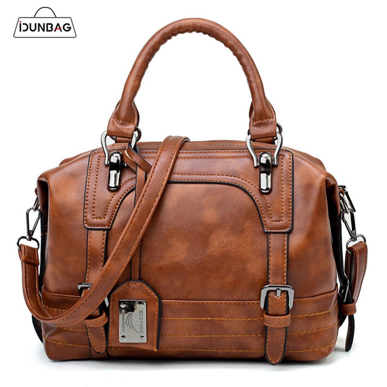 4a1f790d380 Brown Vintage Fashion Casual Tote Boston Bags Handbags Women Famous Brands  Luxury Pu Leather Women Bag Female Shoulder Bags 2018