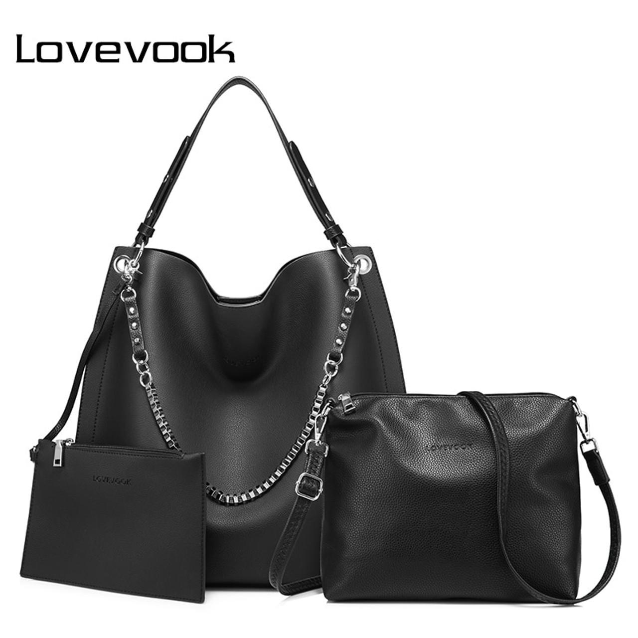9912be104eda LOVEVOOK 3 set women handbag large tote bag shoulder crossbody bag with  soft artificial leather female messenger bag small purse - OnshopDeals.Com