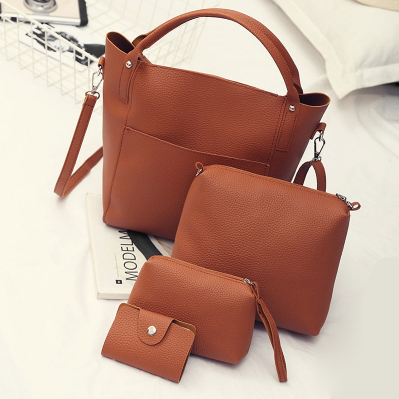 e9a243e18156 4pcs Women PU Leather Rivet Handbag Crossbody Bag Clutch Bag Card Holder Bucket  Handbags Composite Set - OnshopDeals.Com