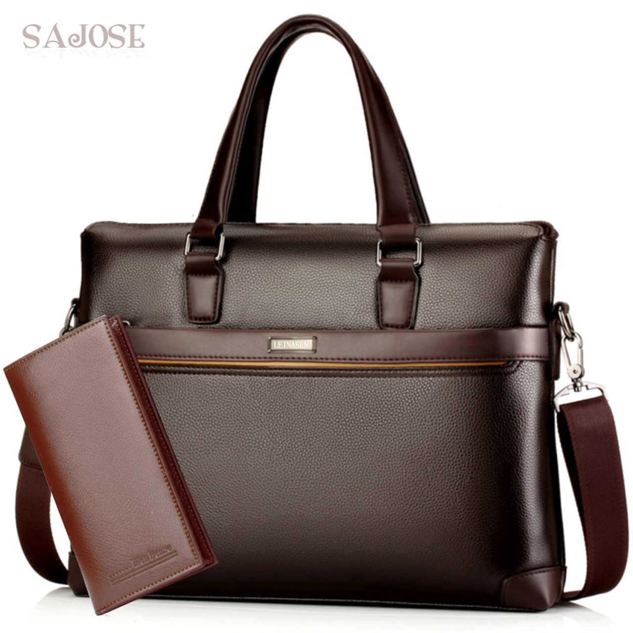 41212745fa Man s Leather Bag Business Men Bags Laptop Tote Briefcases Male Crossbody  Bags Shoulder Handbag High Quality ...