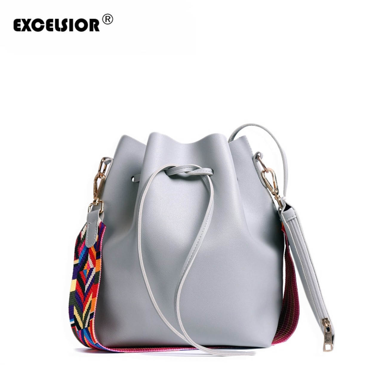 d887ef2d5b EXCELSIOR Hot Sale High Qulity PU Leather Women s Handbag New Fashionable  Bucket Bag Messenger Bags with ...