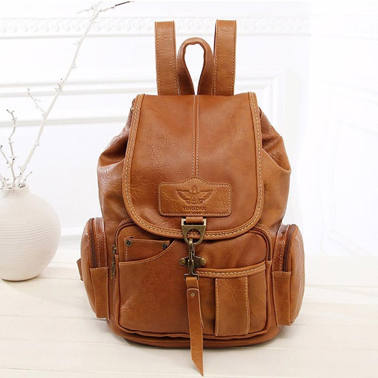 c28b6ace23 ... Vintage Women Backpack for Teenage Girls School Bags Large Drawstring  Backpacks High Quality PU Leather Black ...