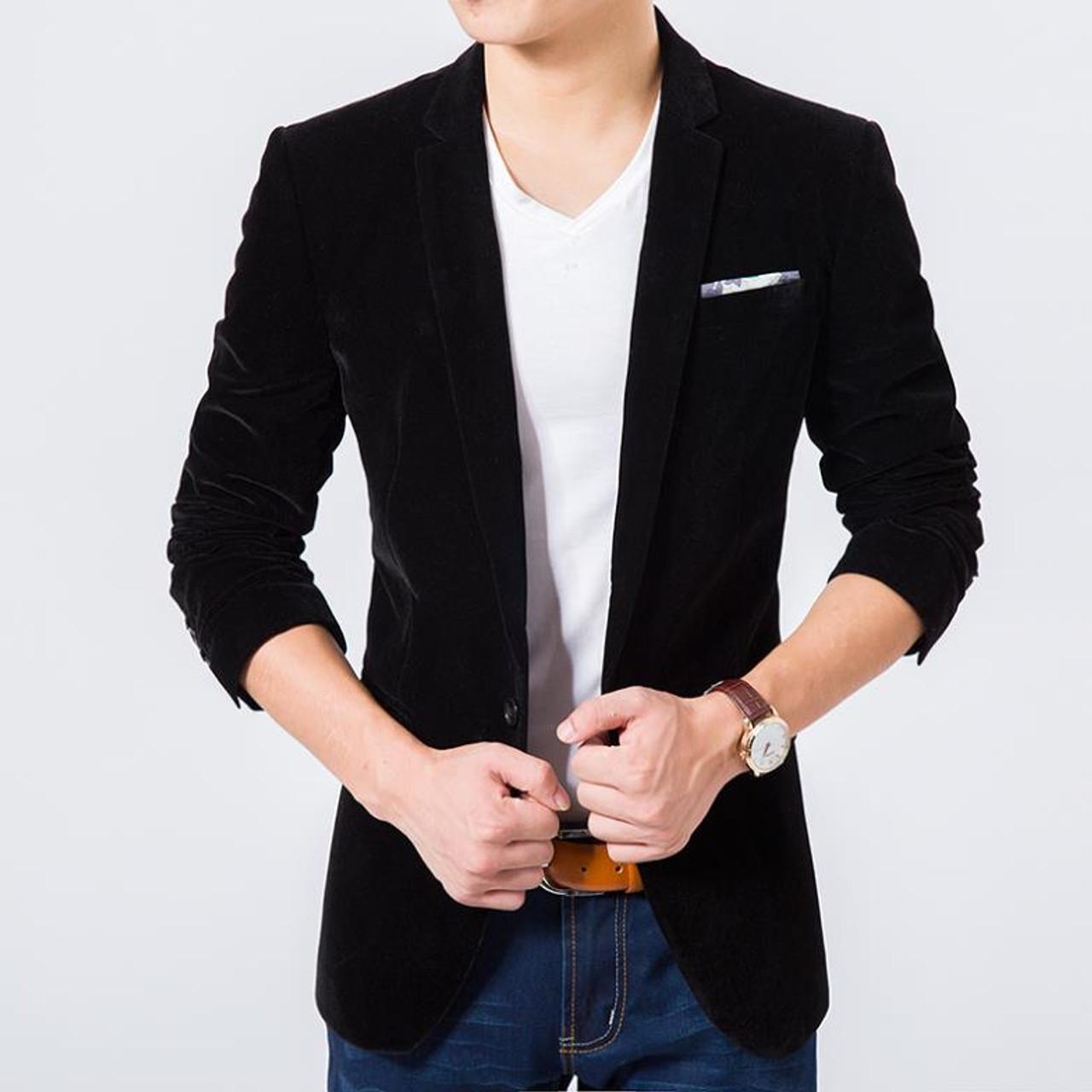 a79a7f03bd5e2 ... Mens blazer high quality suit jacket korean fashion velvet blue blazer  Male casual jacket single breasted ...