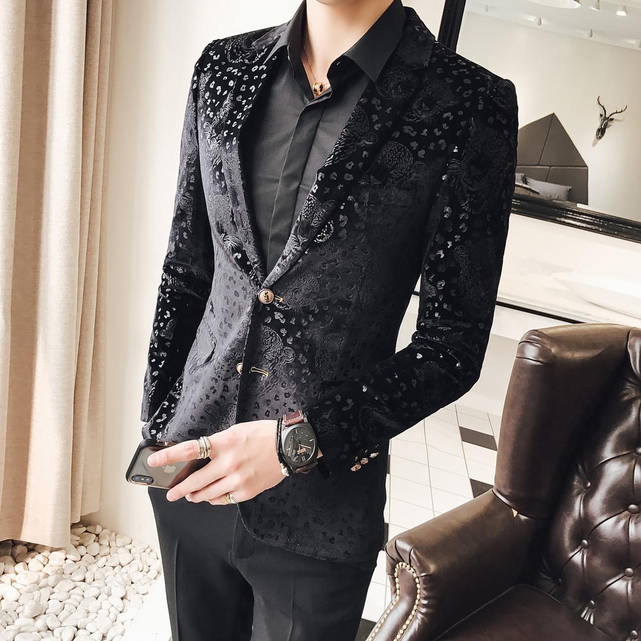 b3fe3c4a3 Black Velvet Blazer Men Male Suit Jacket Casual Business Flower Pattern  Luxury Stylish Blazers For Men Party Wedding Blazer
