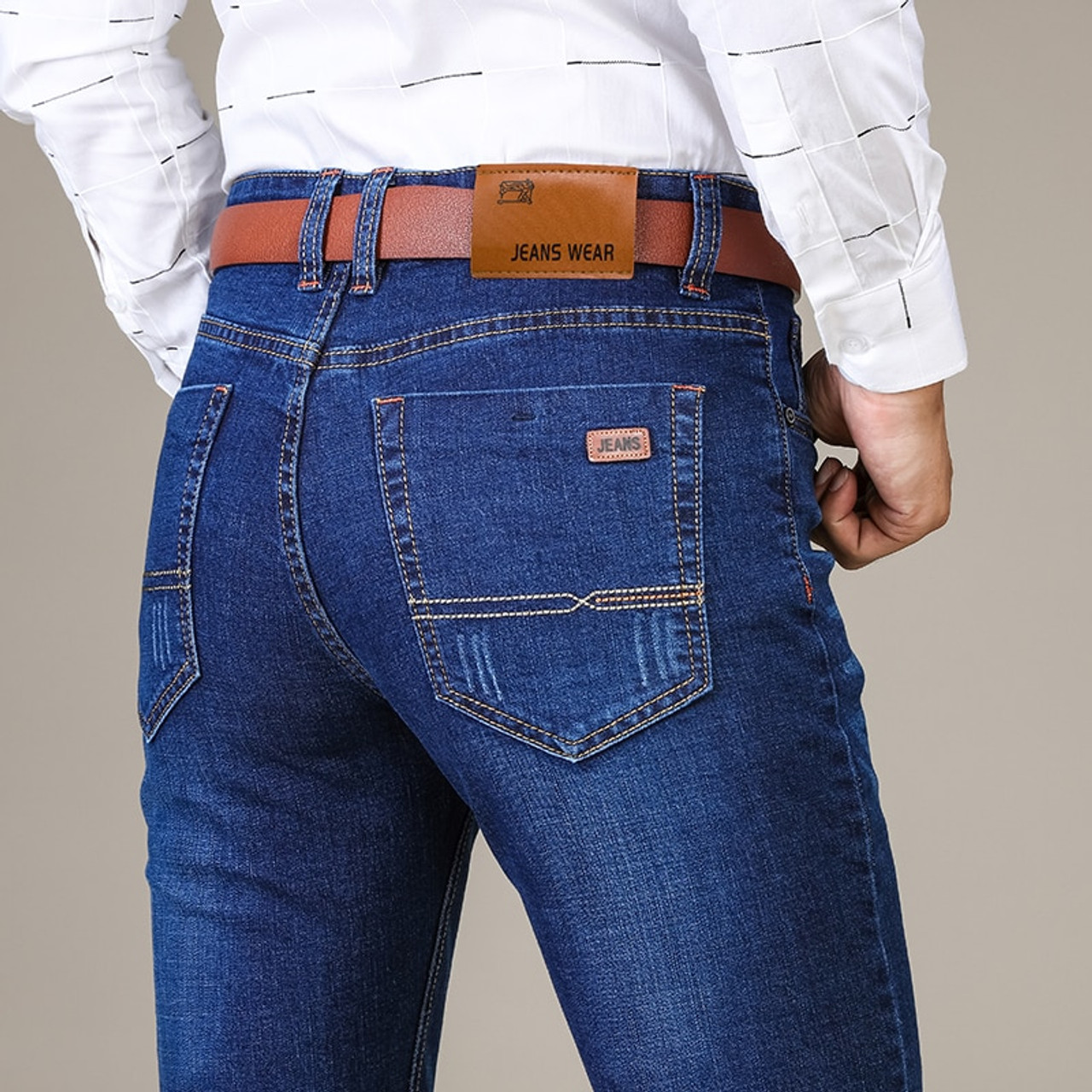baf172783311 ... Brother Wang Brand 2018 New Men s Fashion Jeans Business Casual Stretch Slim  Jeans Classic Trousers Denim ...