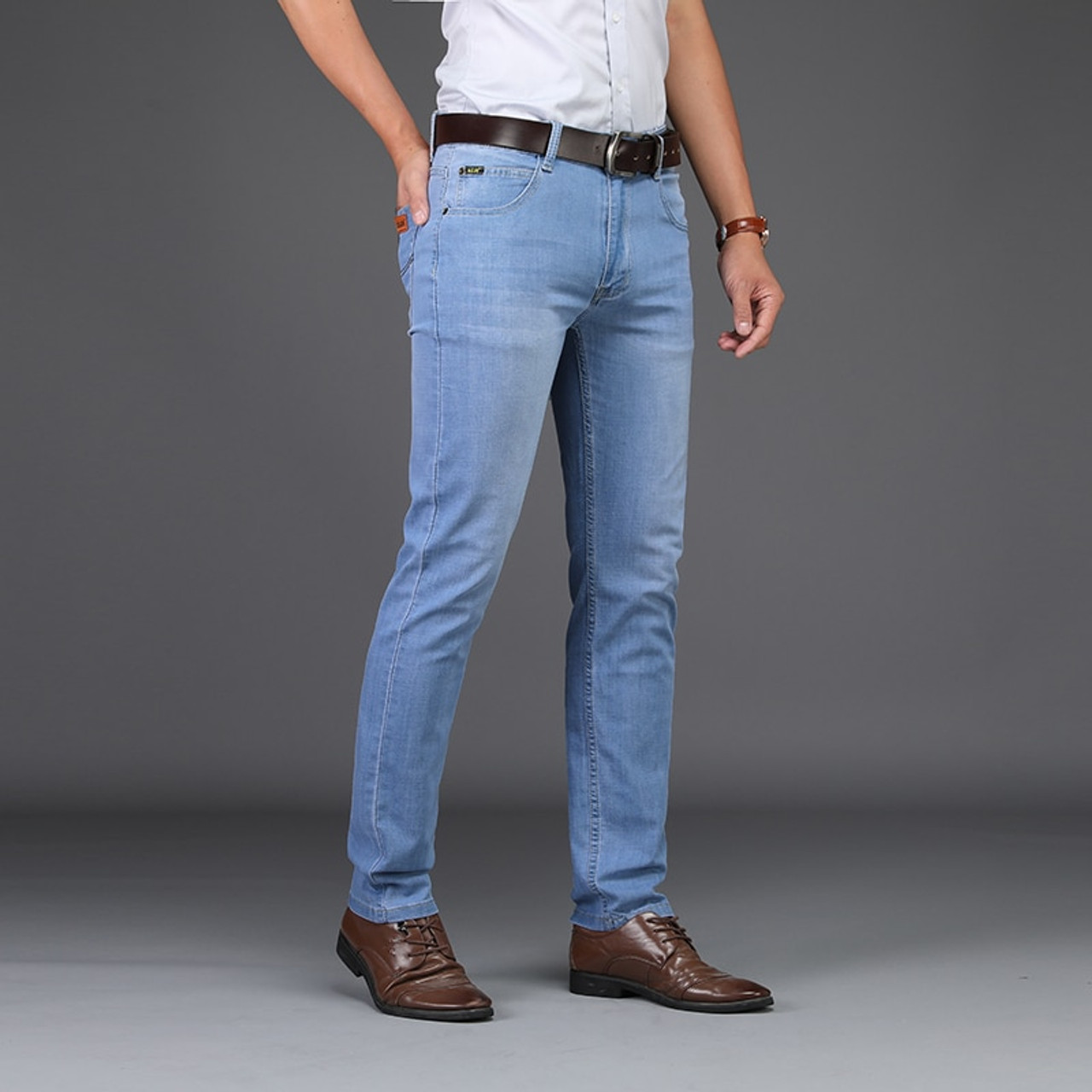 Sulee Brand Men Spring Summer Jeans Denim Mens Jeans Slim Fit Plus Size to  40 Big and Tall Men Pants Thin Dress jeans - OnshopDeals.Com