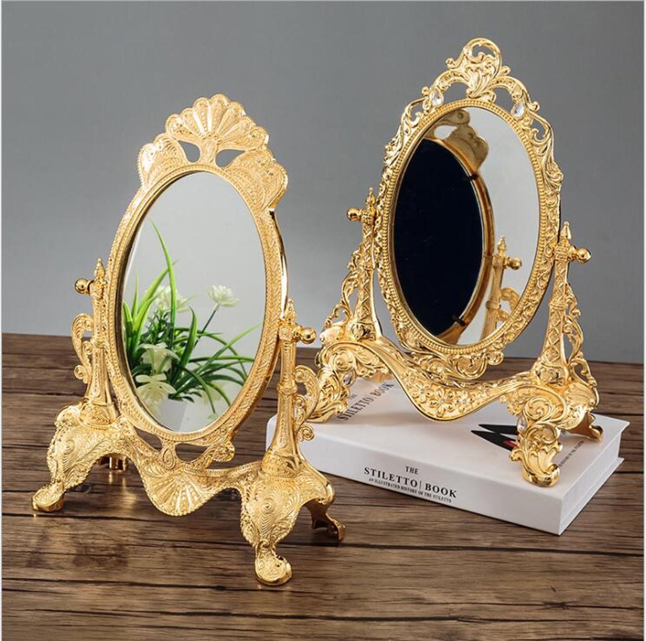 Europe 360 Rotating Sliver Gold Color Desktop Mirror Zinc Alloy Metal Vintage Vanity Mirror Wedding Home Decorative Mirrors J051 Onshopdeals Com