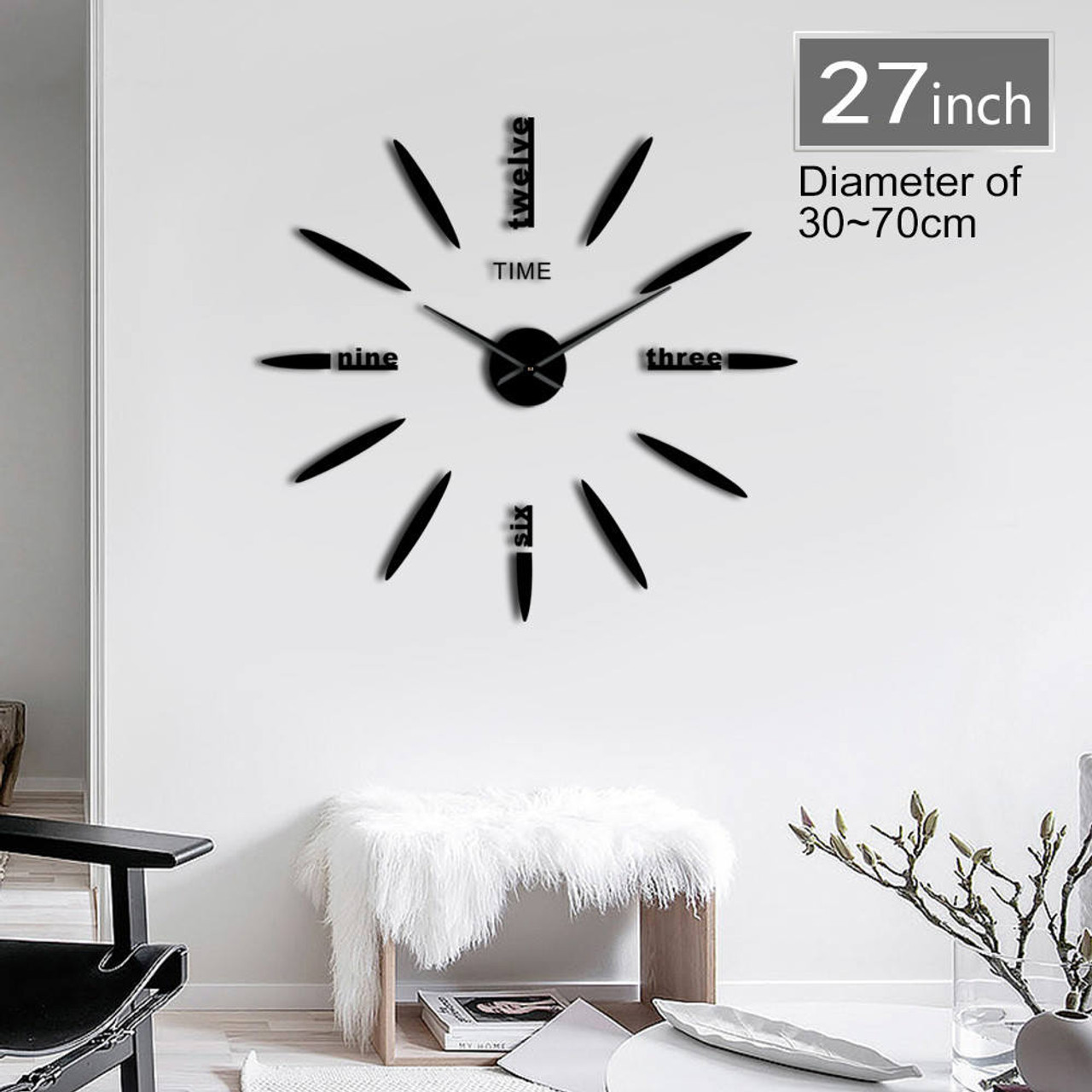 Simple Modern Giant Big DIY Large Frameless Wall Clock with Mirror Effect Decor