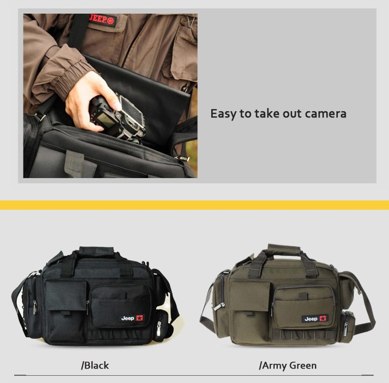 Roadfisher Jeep Large Waterproof Camera Shoulder Carry Travel Case Bag Insert Fit 1 Dslr 4 Lens 1 Flash Canon Nikon Pentax Onshopdeals Com