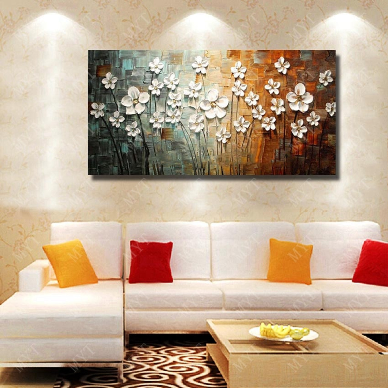 Chinese Wall Art Modern Living Room Wall Decor Flower Painting Large Canvas Art Hand Painted Wall Pictures No Framed Onshopdeals Com