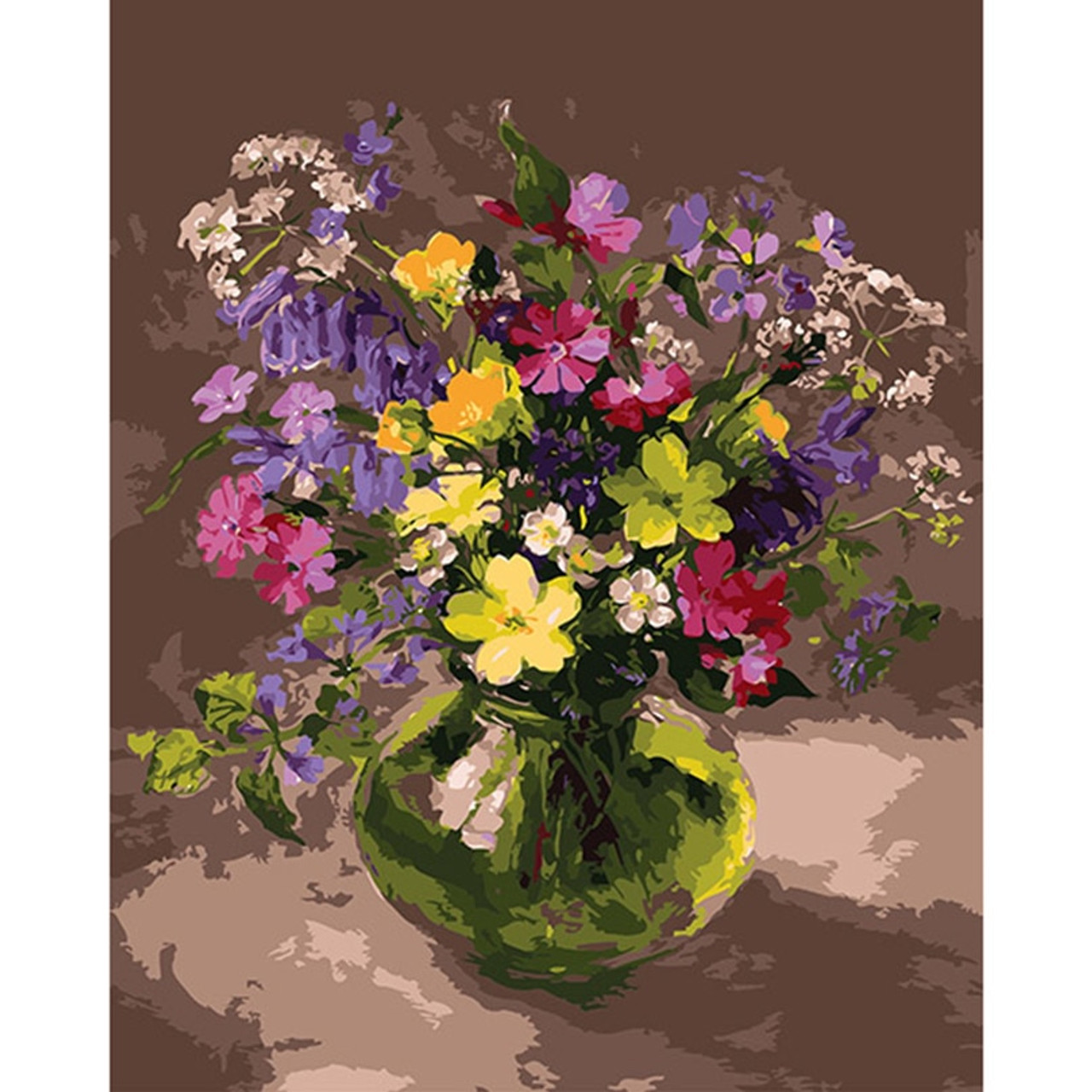 DIY acrylic Painting Picture Art Vase of Purple Flowers Paint By Numbers