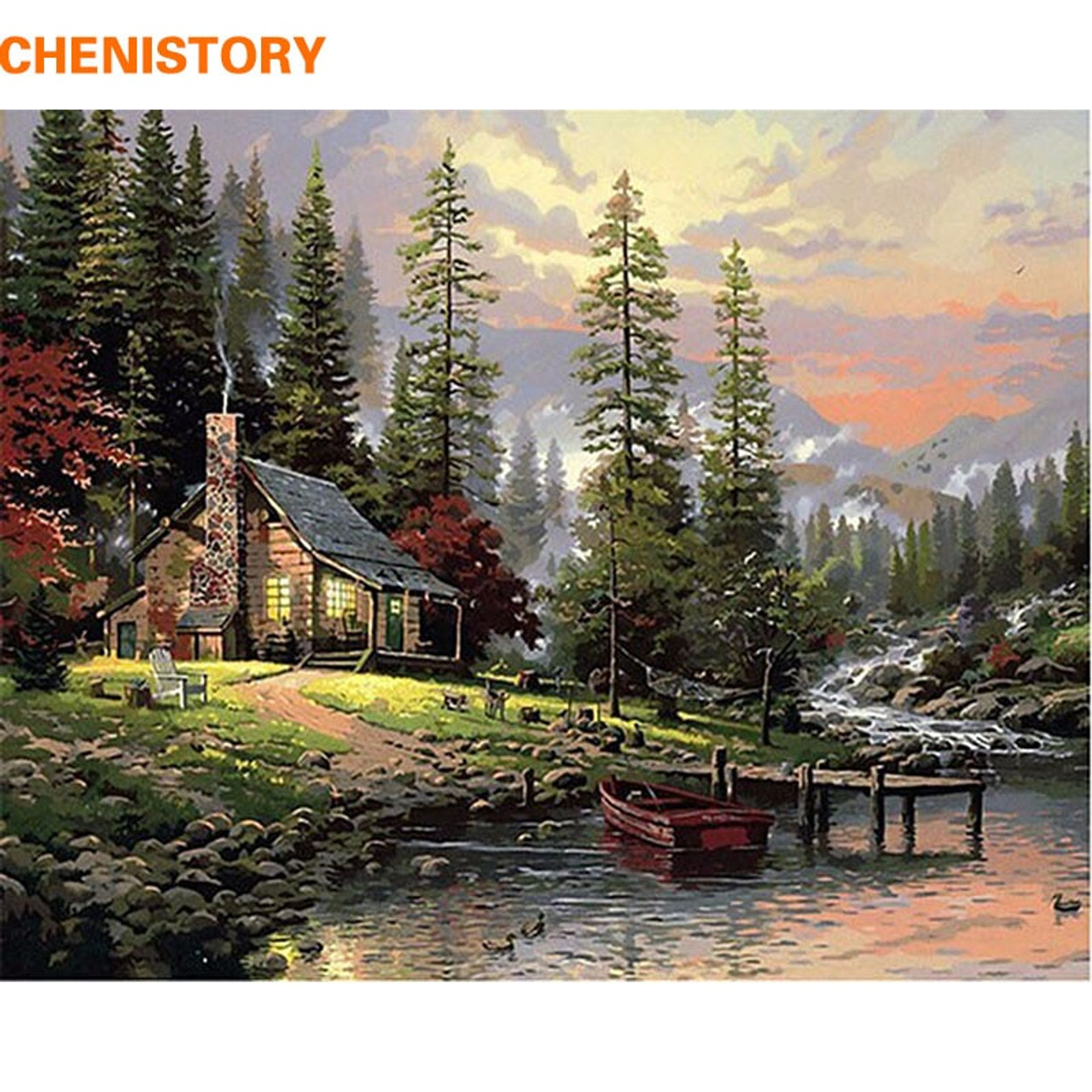 Chenistory Diy Painting By Numbers Home Decor Hand Painted Landscape Canvas Painting Unique Wall Art Picture 40 50cm Countryside