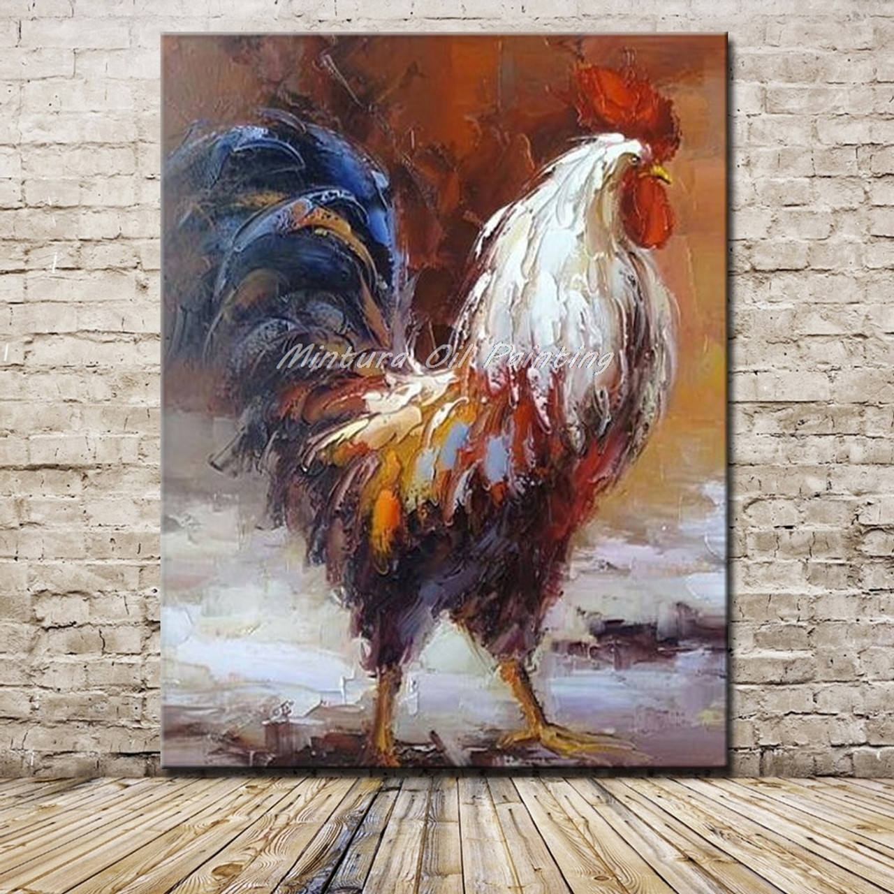 ec0e30c946 Mintura Art Hand Painted Cock Animal Oil Painting On Canvas Pop Art Modern  Abstract Wall Art ...