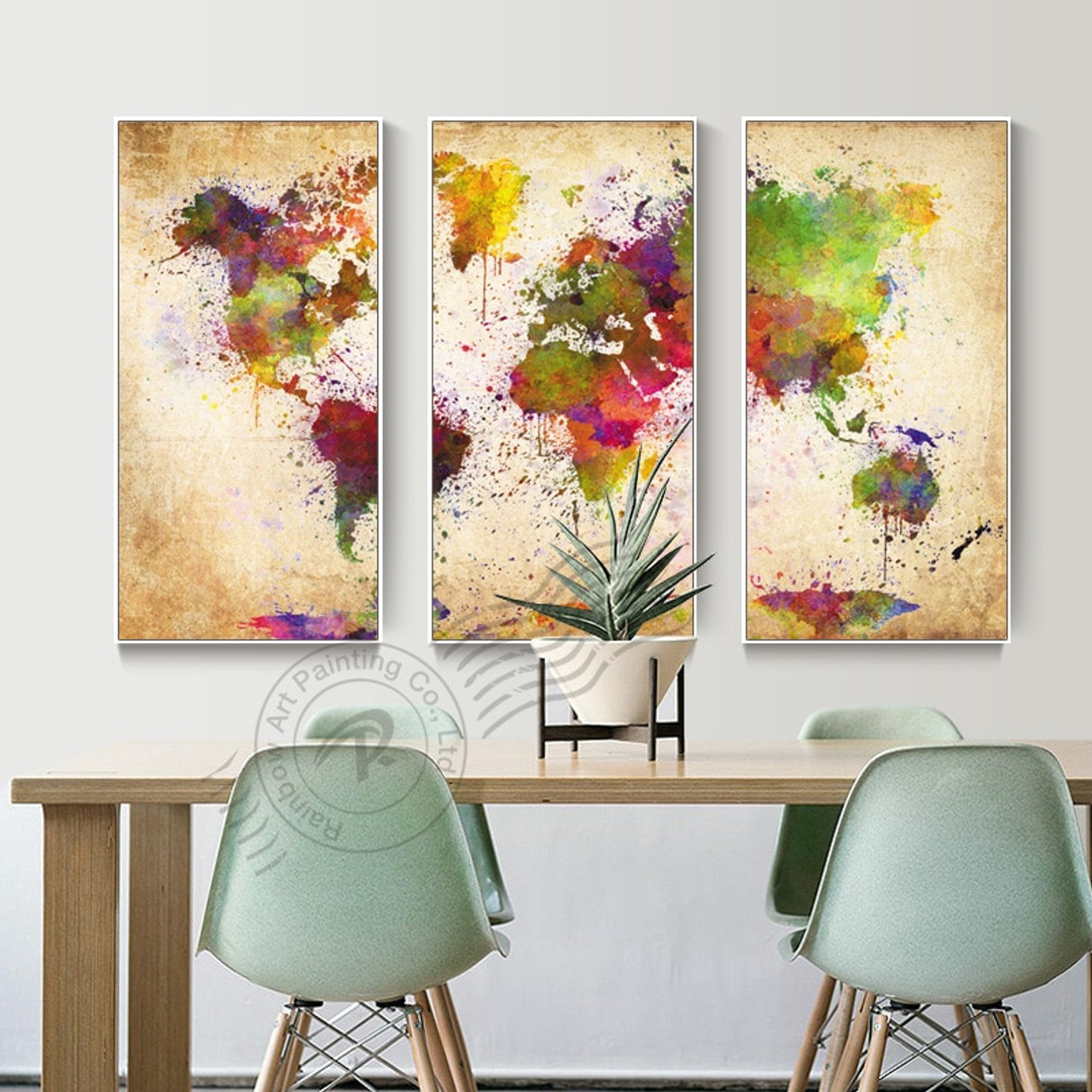3 Piece Canvas World Map.3 Panel Canvas Wall Art Abstract Oil Painting Watercolor World Map