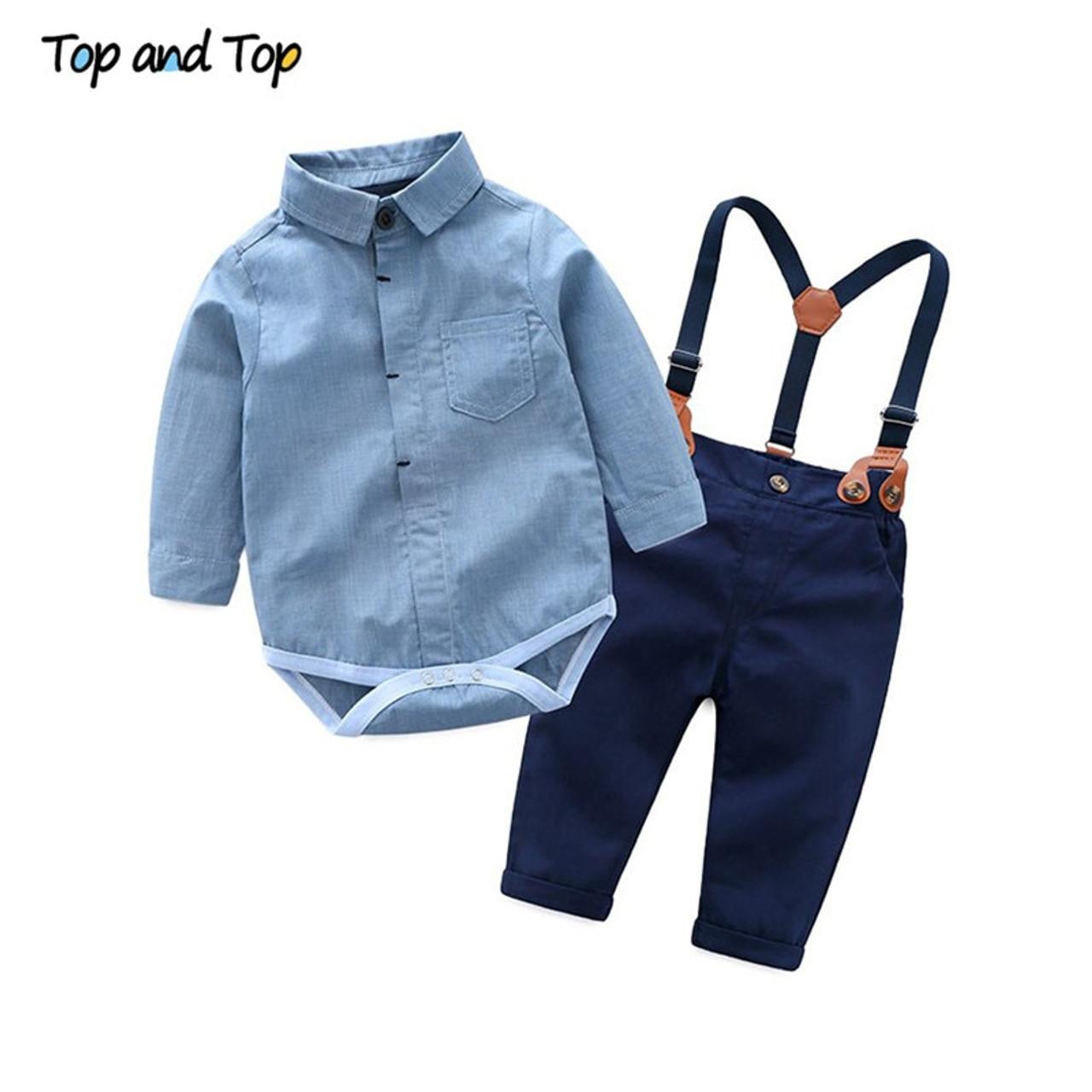 39c4954e5293 2PCS Baby Boy Dress Shirt  Denim Suspenders Pants Set Kids Casual Clothes  Outfit