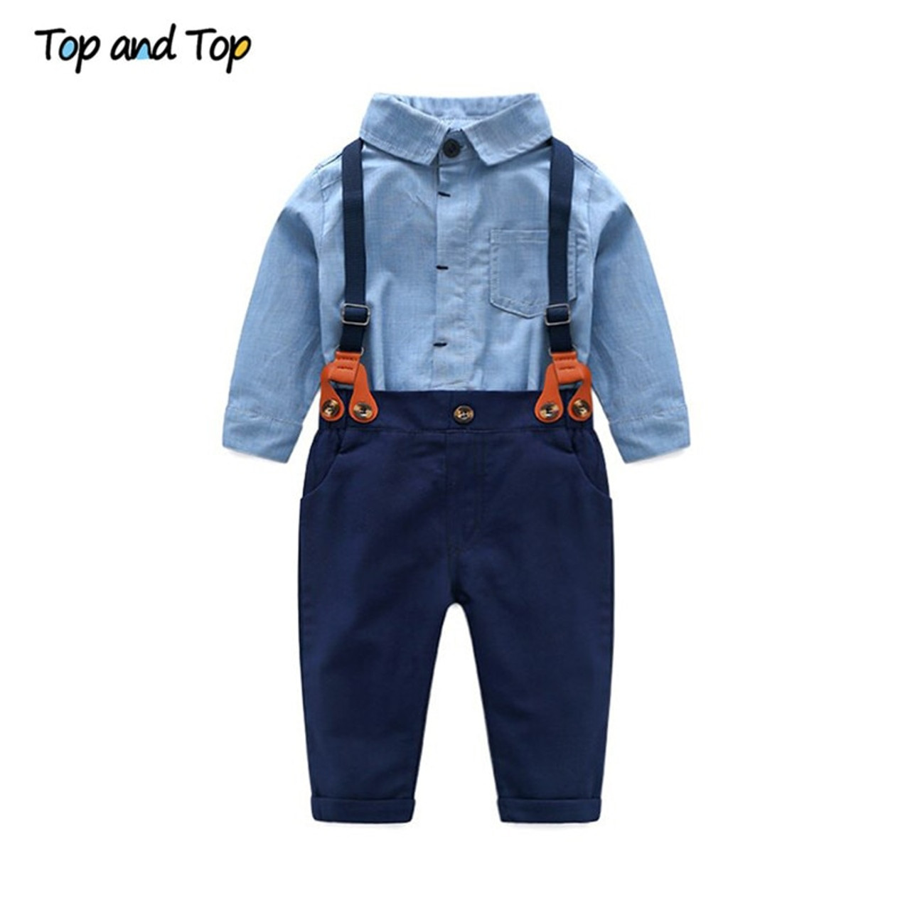 7d3bef23f3c59 Top and Top Toddler Baby Boys Gentleman Clothes Sets Long Sleeve  Romper+Suspenders Pants 2Pcs Wedding Party Casual Outfits
