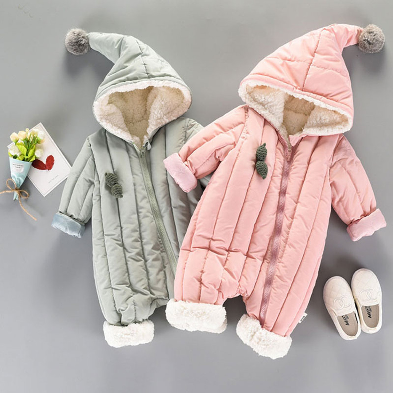 96abc2115a1 Winter fall Newborn Infants Baby girls boys Clothes Warm Hooded Jumpsuit  Jacket Baby wear Clothing sets ...