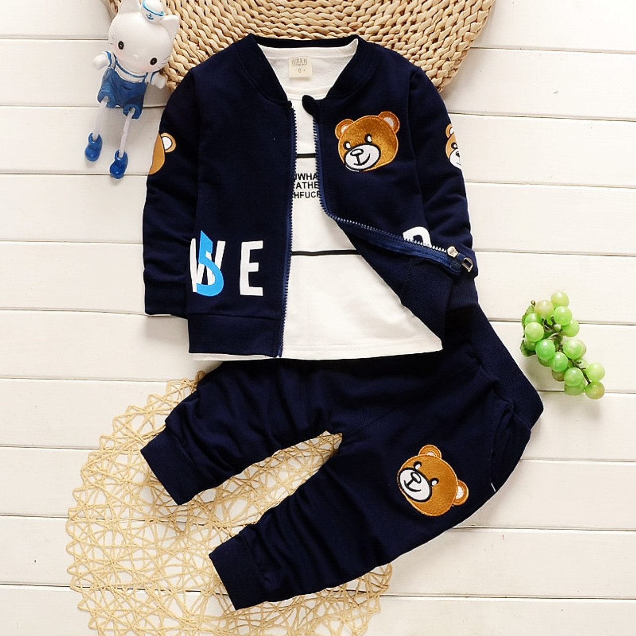 BibiCola baby boys clothing sets newborn boy coat + shirt +pants 3pcs set  cartoon bear suit infant boys clothes set - OnshopDeals.Com