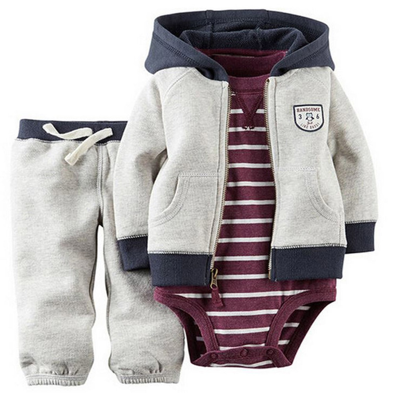 2f41708399 kids baby bebes boy clothes set hooded jacket+rompers+pants infant boy girl  clothing ...