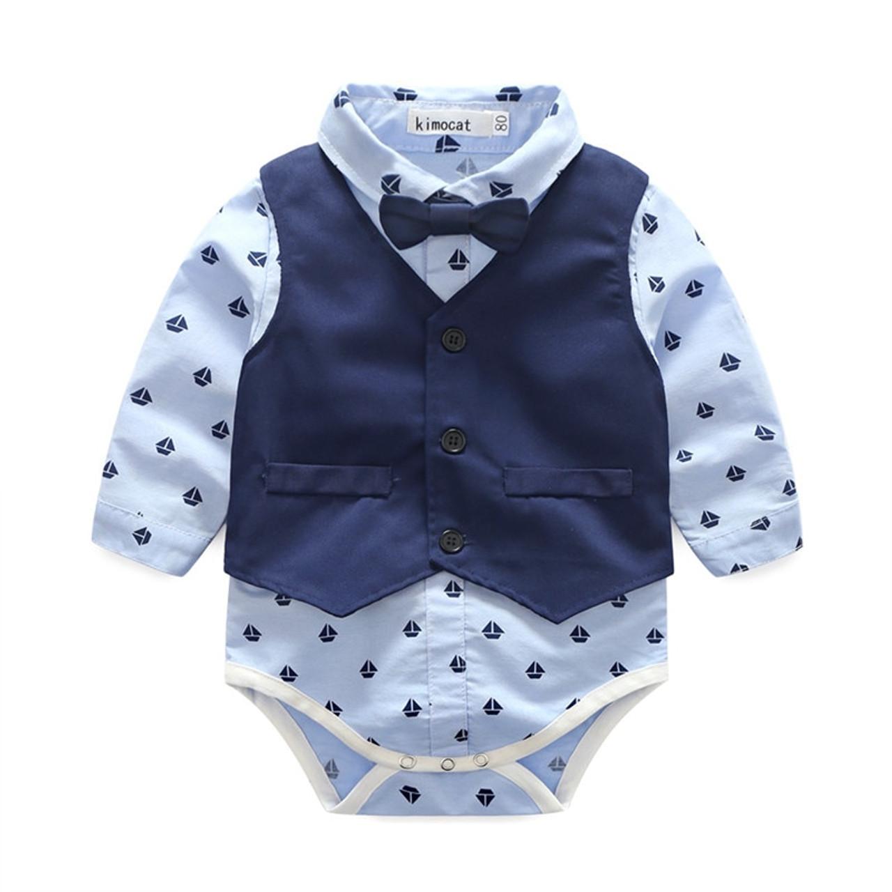 7fd5ecc9 ... Kimocat Infant Baby Boy Gentleman Clothes For Weddings Formal Suit  Vest+T-Shirt+ ...