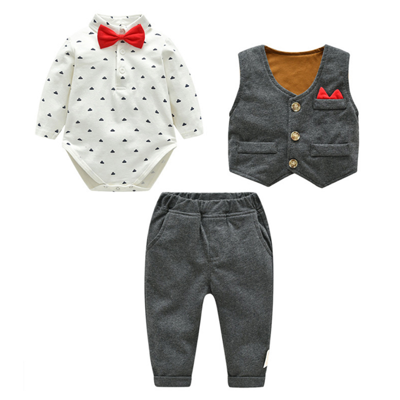 feb492487 ... IYEAL Baby Boy Clothes 3 Pieces Suits Vest + Tie Rompers + Pants  Fashion Gentleman Kids ...