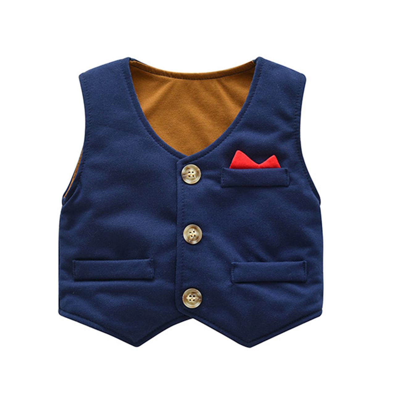 22cc1603e6f9 ... IYEAL Baby Boy Clothes 3 Pieces Suits Vest + Tie Rompers + Pants Fashion  Gentleman Kids ...
