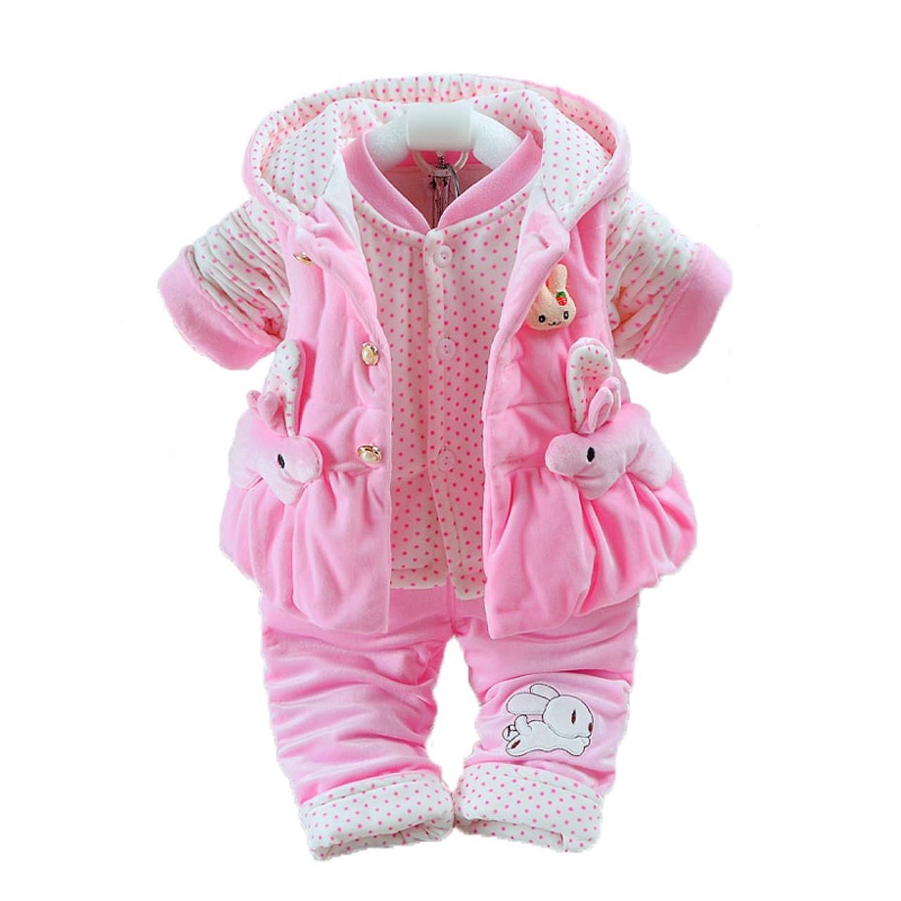868d04580205 Newborn Flannel Clothes Baby Boys Jumpsuit Girls Thicken Warm Rompers  Pajamas Plus velvet Vest+Coat+ Pants Kids Infant 3Pcs W139 - OnshopDeals.Com