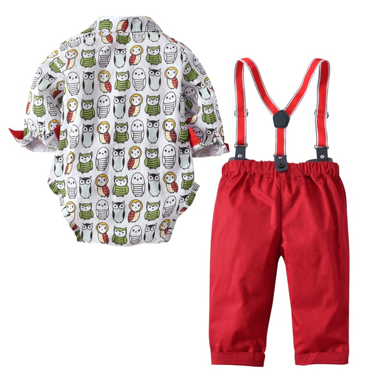 36edb6b0975f Baby Boys Wedding Romper Clothes Suit with Bow +Red Owl Belt Pants ...