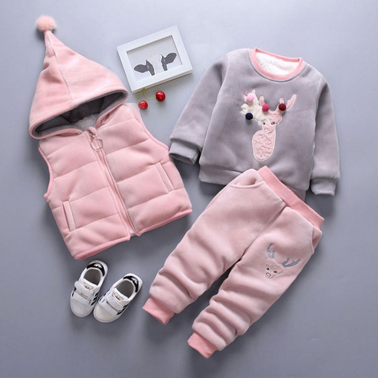 For Winter Newborn Infant Boys Girls Baby Clothes Velvet Tops Pullover Sweatshirt Vest Jacket Pants Outfits Sport Clothing Sets Onshopdeals Com