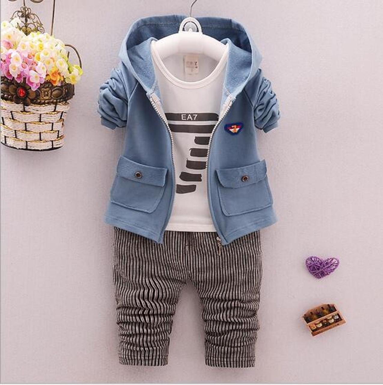 3 pcs baby boy clothing set boys suit kids spring jacket infant coats  Autumn shirt boys trousers fit 7-24 months - OnshopDeals.Com