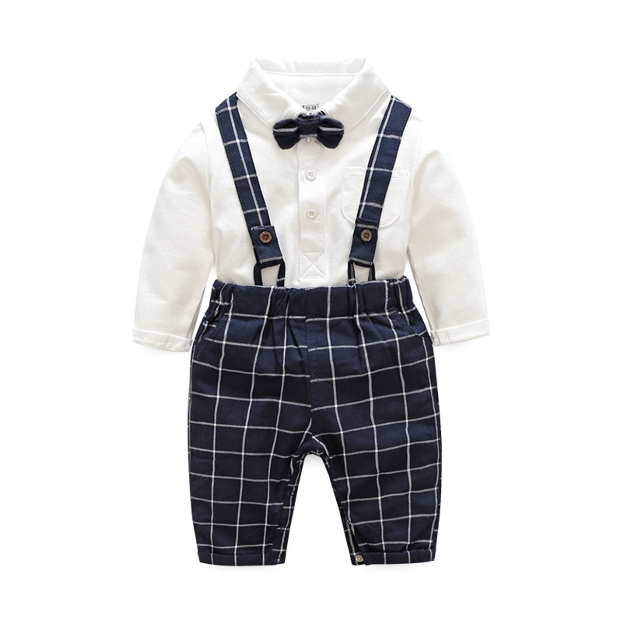 1e1d15b0023d baby boy clothes baby clothing suit gentleman Style bow tie + plaid shirt + Bib  baby ...