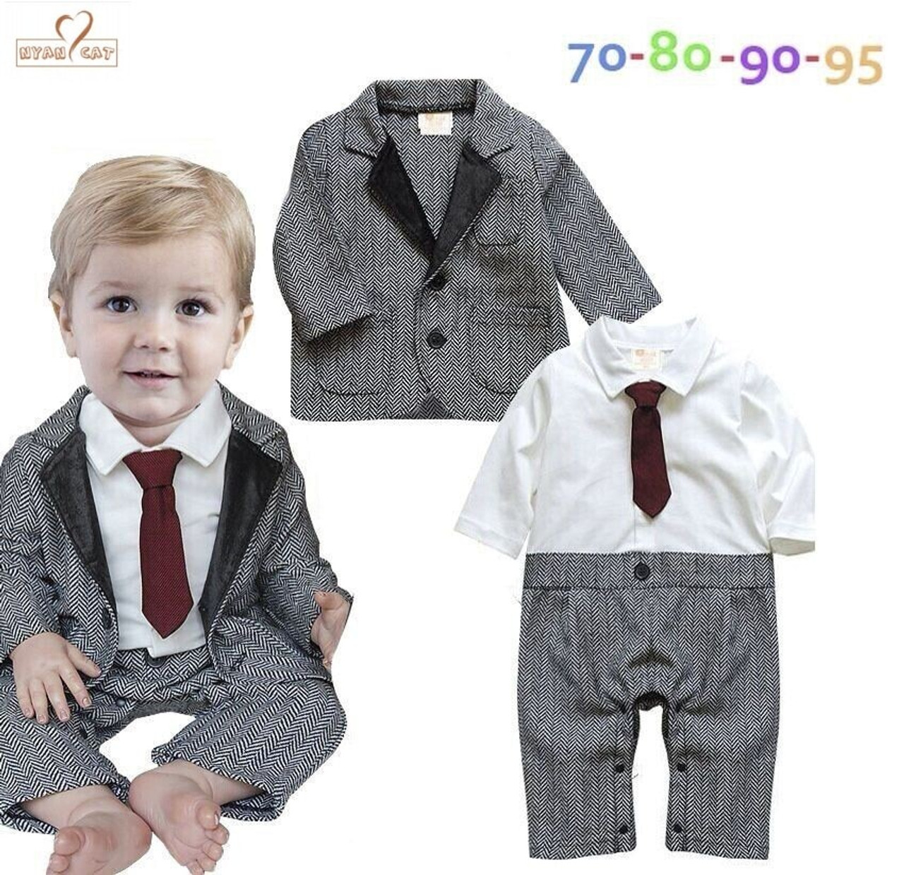 e1a5a81a437e ... NYAN CAT Baby boy clothes Gentleman Bow tie Romper Coat outfit Holiday  Wedding Party Wear Baby ...